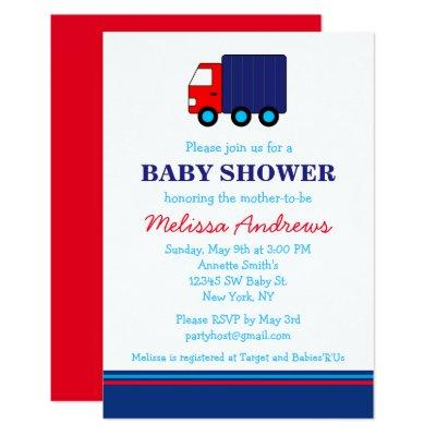 Navy Blue and Red Truck Baby Shower Invitations