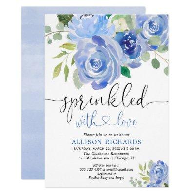 Navy blue and white floral baby sprinkle boy invitation
