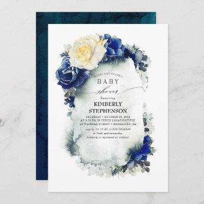 Navy Blue and Yellow Floral Vintage Baby Shower Invitation