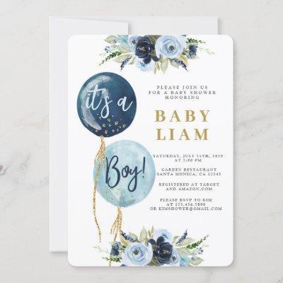 Navy blue balloon baby shower boy invitation