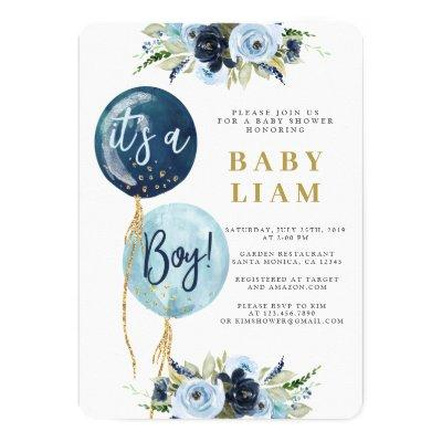 Navy blue balloon baby shower boy invitation