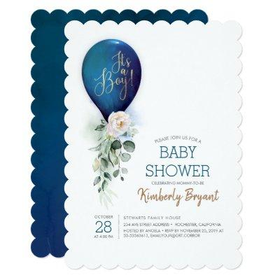 Navy Blue Balloon It's a Boy Baby Shower Invitation