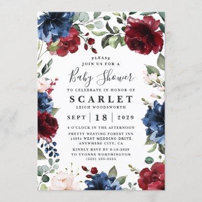 Navy Blue Burgundy Blush Pink Floral Baby Shower Invitation