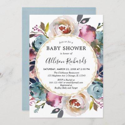 Navy blue burgundy rustic floral baby shower invitation