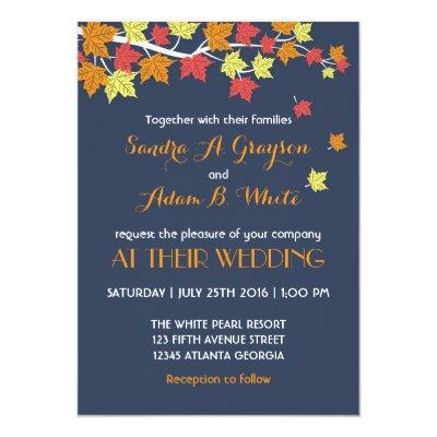 Navy Blue Falling Maple Leaves Wedding Invitations