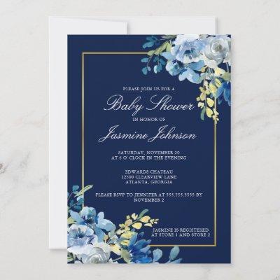 Navy Blue Gold Floral Elegant Baby Shower Invitation