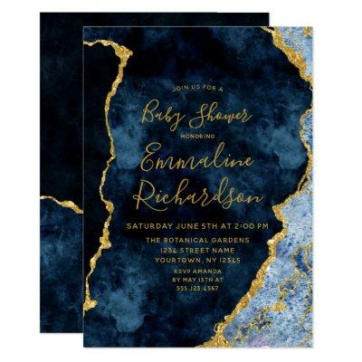 Navy Blue & Gold Foil Agate Baby Shower Invitations