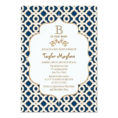 Navy Blue Gold Moroccan Gender Neutral Baby Shower Invitations