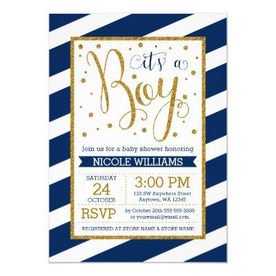 Navy Blue Gold Stripes Boy
