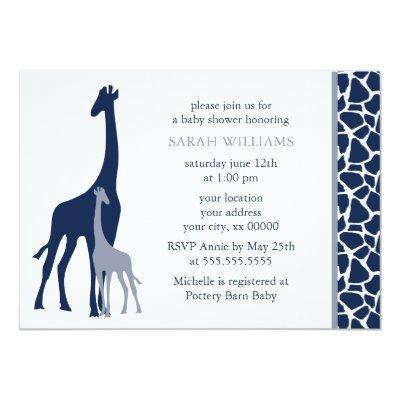 Navy Blue Mom and Baby Giraffe Invitations