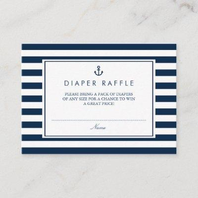 Navy Blue Nautical Baby Shower Diaper Raffle Enclosure Card