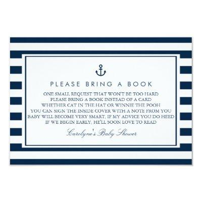 Navy Blue Nautical Baby Shower Please Bring a Book Invitations
