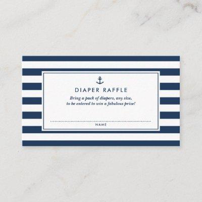 Navy Blue Nautical Diaper Raffle Baby Shower Game Enclosure Invitations