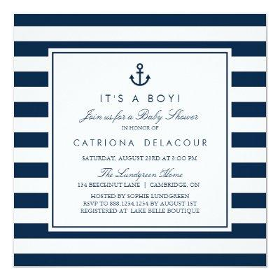 Navy Blue Nautical It's a Boy Baby Shower Invitations