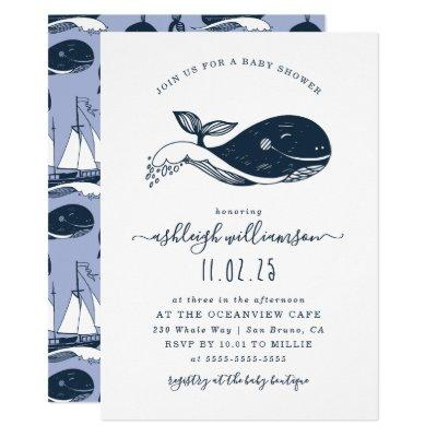 Navy Blue Nautical Whale Baby Shower Invitations