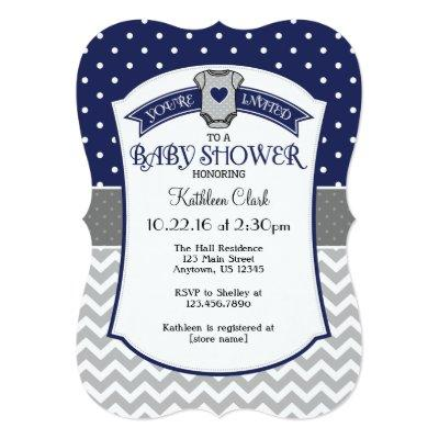 Navy Blue Polka Dot Chevron Baby Shower Invite