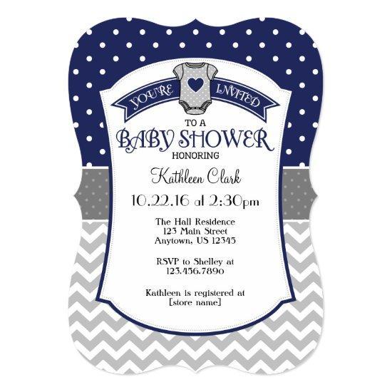 Navy Blue Polka Dot Chevron Baby Shower Invite Baby Shower Invitations