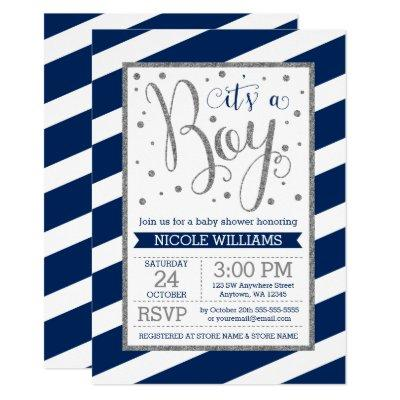 Navy Blue Silver Stripes Boy Baby Shower Invitation