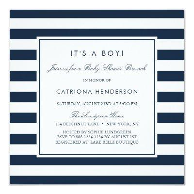 Navy Blue Stripes It's a Boy Baby Shower Brunch Invitations