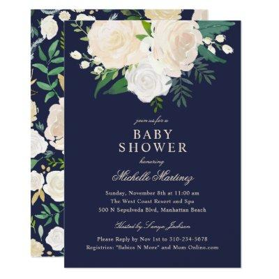 Navy Blue Turquoise Ivory Rose Floral Baby Shower Invitation