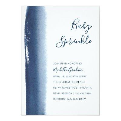 Navy Blue Watercolor Boy Baby Sprinkle Shower Invitations
