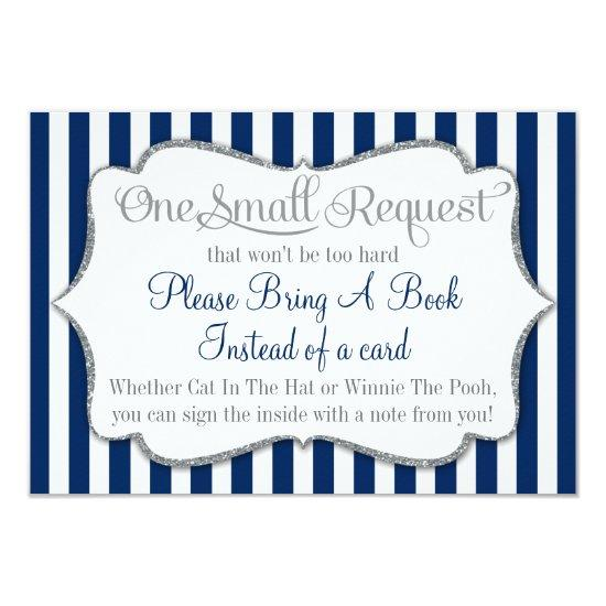 Navy Blue White Gray Baby Shower Bring A Book Card