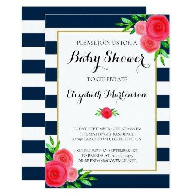 Navy Blue White Striped Coral Floral Baby Shower Invitations
