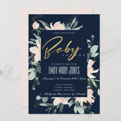 NAVY BLUSH FLORAL FRAME WATERCOLOR BABY SHOWER INVITATION