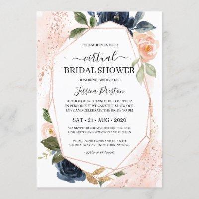 Navy Blush Floral Geometric Virtual Bridal Shower Invitation