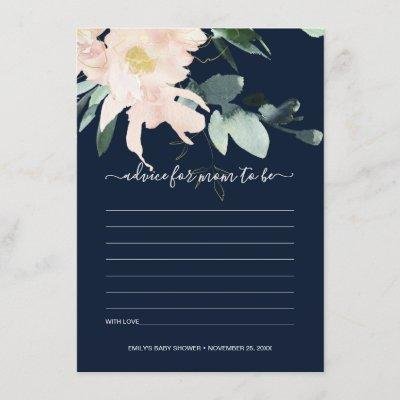 NAVY BLUSH FLORAL WATERCOLOR ADVICE BABY SHOWER ENCLOSURE CARD