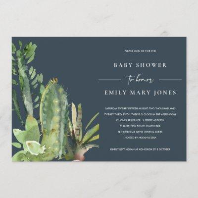 NAVY BOHO SUCCULENT DESERT CACTI FAUNA BABY SHOWER INVITATION