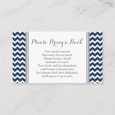 Navy Chevron Baby Shower Book Request Card