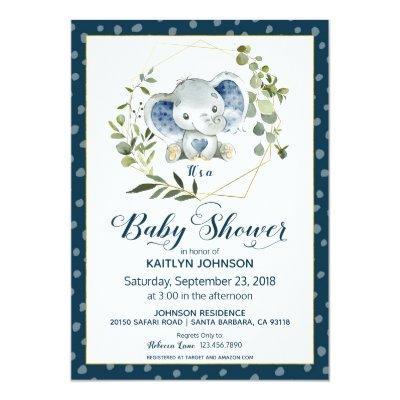 Navy Elephant Modern Baby Shower Invitation
