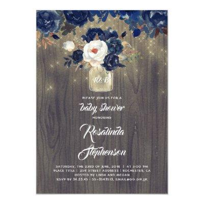 Navy Floral Mason Jar Rustic Baby Shower Invitation
