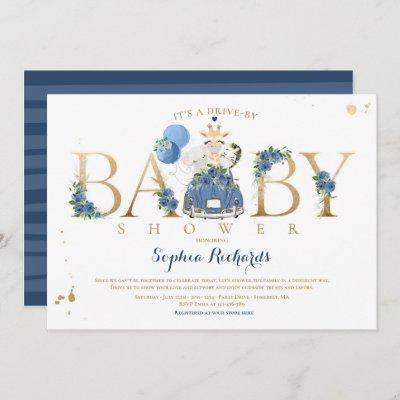 Navy Floral Safari Animals Drive By Baby Shower Invitation