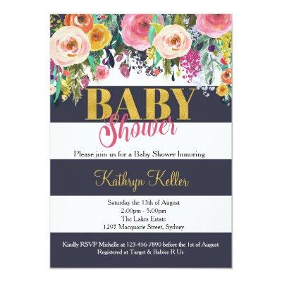 Navy & Gold Floral Baby Shower Invitations