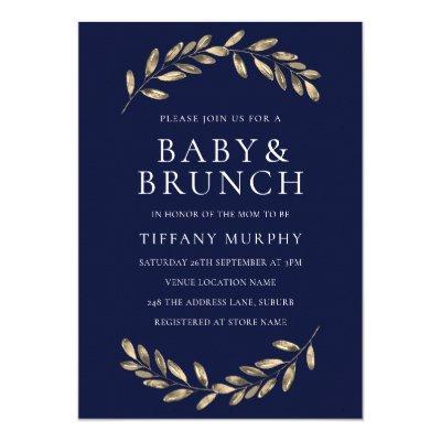 Navy & gold Leaf Wreath Baby Shower Brunch Invite