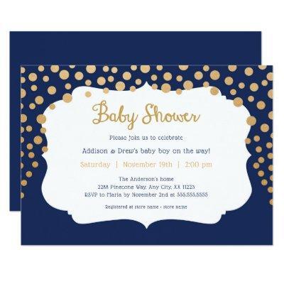 Navy gold polka dot boy baby shower invitations