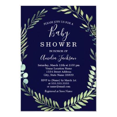 Navy Green Watercolor Wreath Boy Baby Shower Invitations