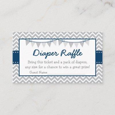 Navy & Grey Chevron Diaper Raffle Tickets Enclosure Card