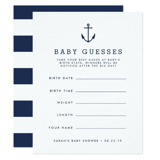 Navy Nautical Anchor Baby Shower Guessing Game Invitations