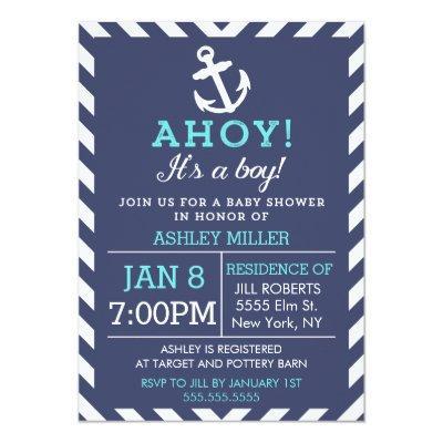 Navy Nautical Chevron Baby Shower Invitations