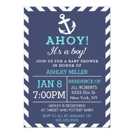 Navy Nautical Chevron Baby Shower Invitations
