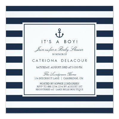 Navy Nautical It's a Boy Invitations
