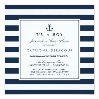 Navy Nautical It's a Boy Baby Shower Invitations