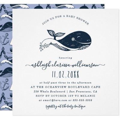 Navy Nautical Whale Baby Shower Square Invitations