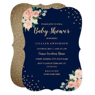 Navy Peach Gold Floral Confetti Baby Shower Invitation