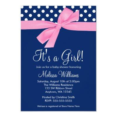Navy Pink Bow Polka Dot Baby Shower Invitations