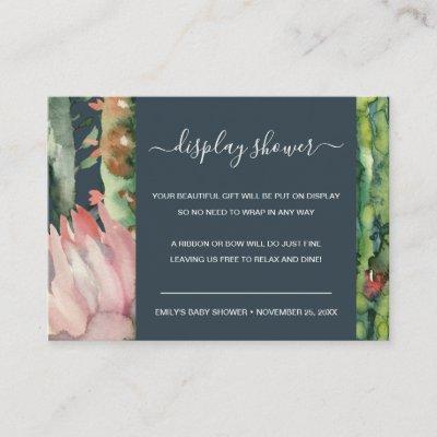 NAVY PINK FLORAL DESERT CACTI DISPLAY BABY SHOWER ENCLOSURE CARD
