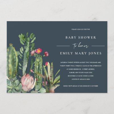 NAVY PINK FLORAL DESERT CACTI FAUNA BABY SHOWER INVITATION